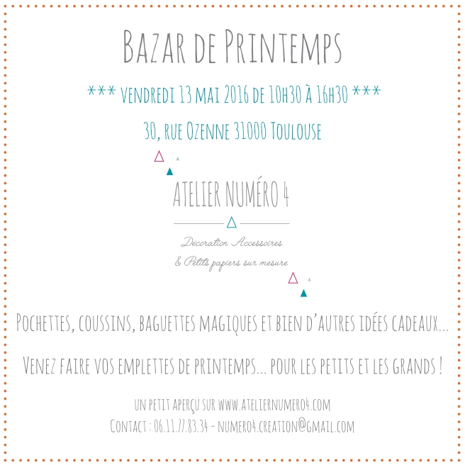 INVITATION BAZAR DE PRINTEMPS - ATELIER NUMERO 4